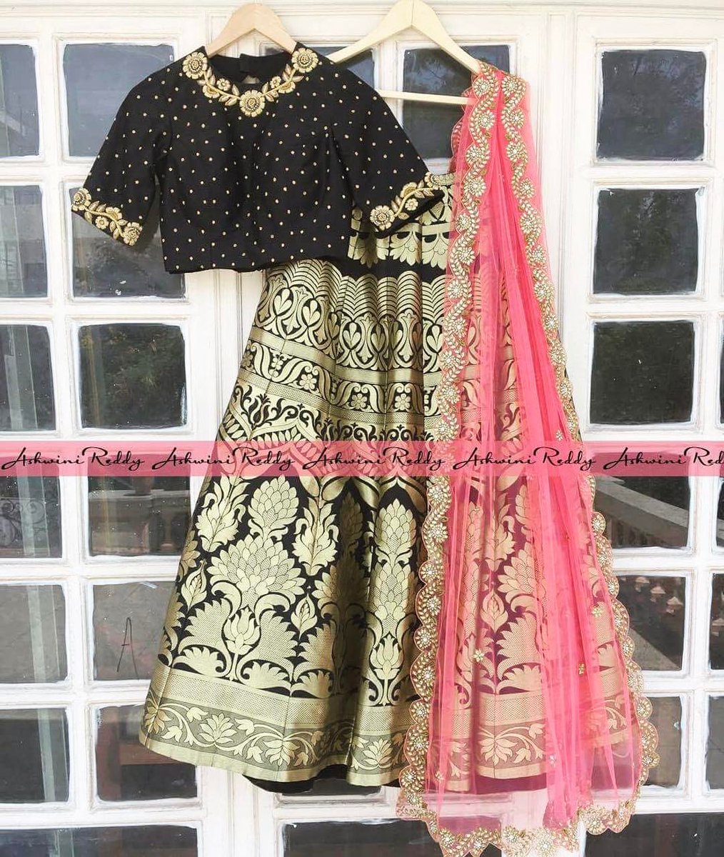 This  black    peach combination will make anyone look more  stunning in it especially when it comes to  handwoven  benaras  golden  lehenga.. all we need is a  lightweight  cutwork  dupatta   a  croptop which is  simple yet  elegant 