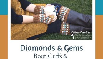 Free Crochet Pattern: Diamonds & Gems Fingerless Gloves and Boot Cuffs   Pattern Paradise