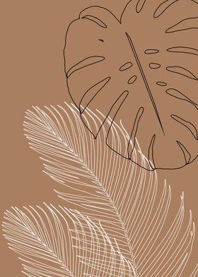 'Monstera Palm Line Art 1' Metal Poster Print - An