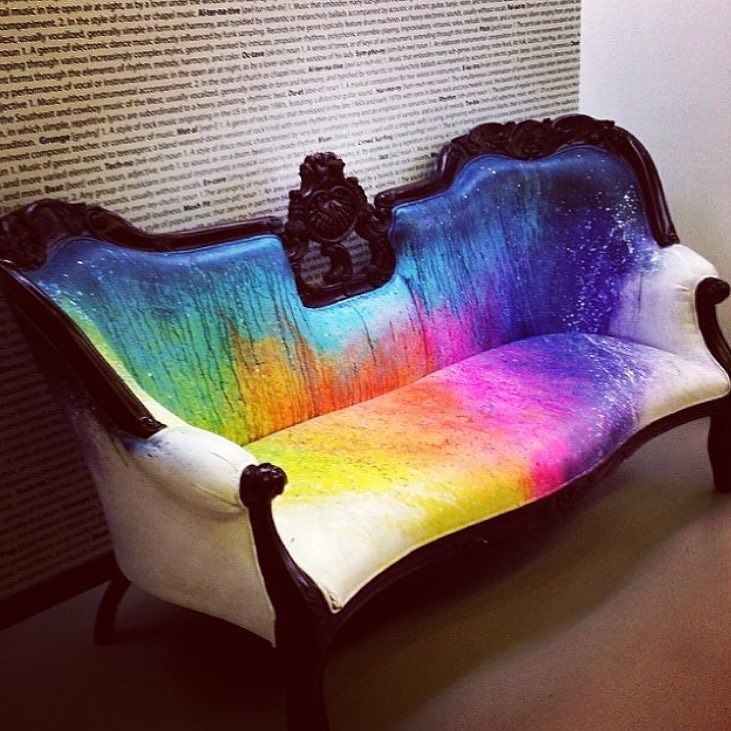 Spotted. #rainbow #couches by ilanaharkavy