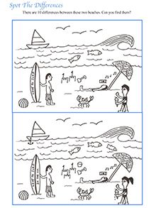 10 free kids printable puzzles  Beach illustration Hidden