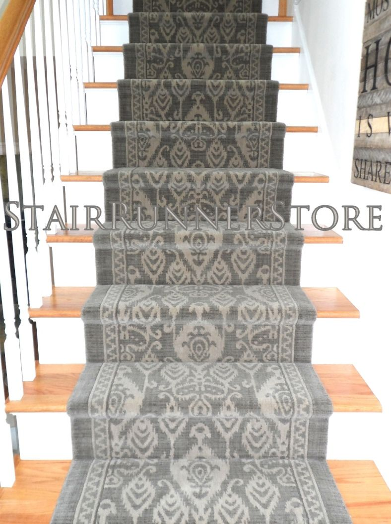 Istanbul Stair Runner Installation Ikat Pattern Stair Runner