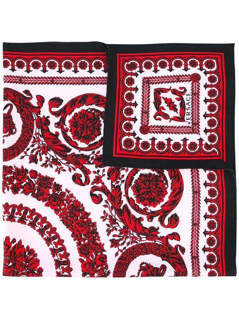 VERSACE Baroque Floral Print Scarf. #versace #scarf