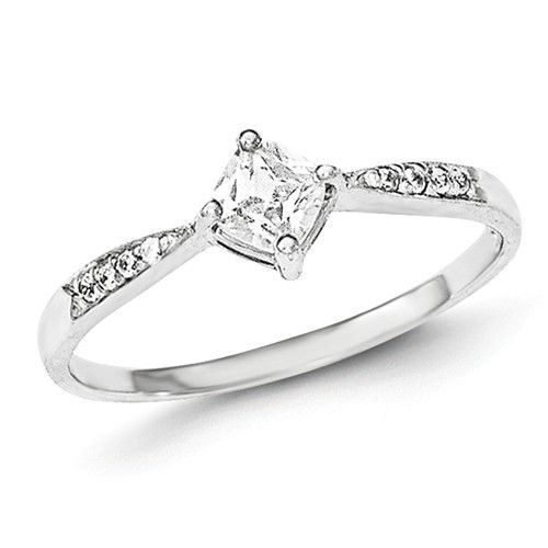 Sterling Silver Princess Dia Square CZ Promise Ring Promise rings