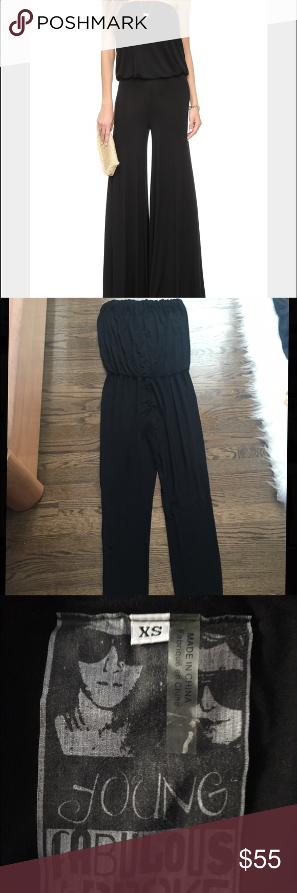 NEW black jumpsuit - young&broke BRAND new, never before worn size xs soft and amazing quality, black jumpsuit by young fabulous & broke. purchased at nordstroms, ripped all the tags off, and never wore it since!!!retails to $200!!! if your looking for a jumpsuit to dress up or to dress down this is it. Very chic and trendy. This jumpsuit can fit an xs, a s or even a medium! very stretchy Young Fabulous & Broke Other