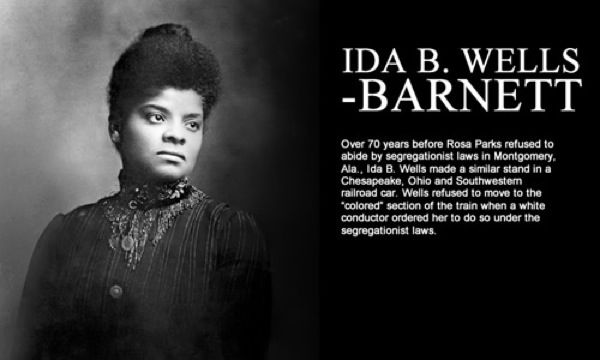 """Journalist Ida B. Wells was an avid suffragist and early Civil Rights leader, who used the power of the pen to challenge racial & sexual discrimination. In 1892, she published """"Southern Horrors: Lynch Laws in All Its Phases"""" a scathing exposé of lynching practices. In retaliation for her articles, a mob destroyed her Memphis printing press. After numerous threats to her life, Wells moved to Chicago to continue her anti-lynching campaign.  ~Wikipedia"""