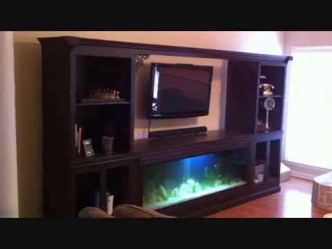 125 Gallon Aquarium Fish Tank Built Into Entertainment Center