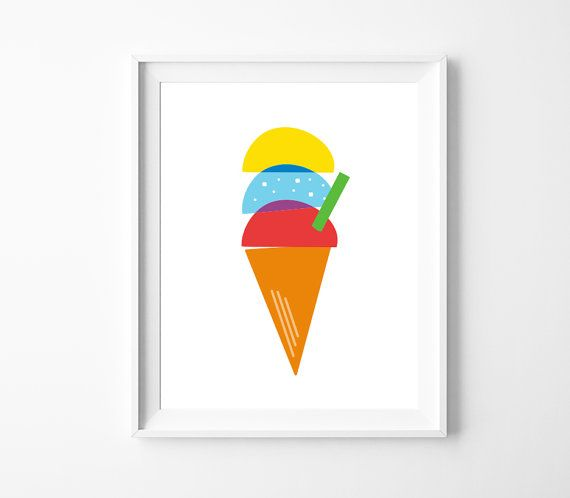 Ice Cream Printable Art Colourful Kids Room Decor by BabyCoStore