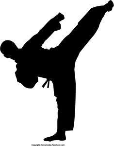 Tendangan T : tendangan, Silhouette, Clipart,, Ready, For…, Artes, Marciais,, Karate,, Poses