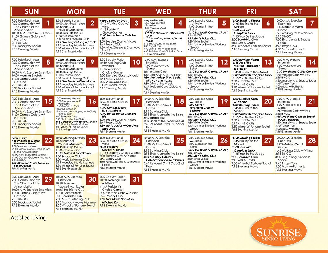 Free Activity Calendar For Seniors  Assisted Living Facility