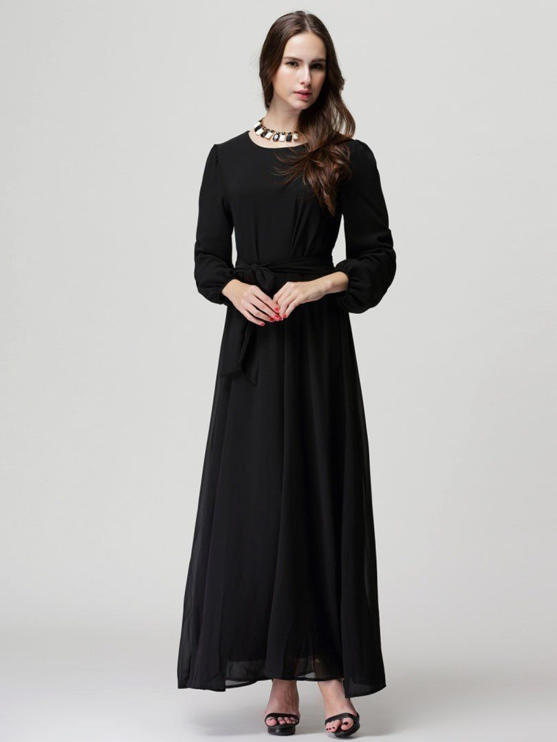 Choies womenus chiffon long sleeve shift maxi dress with belt at