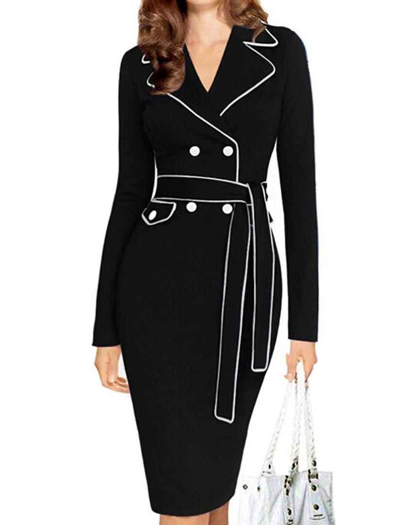 Shop black lapel belted long sleeve bodycon dress from choies