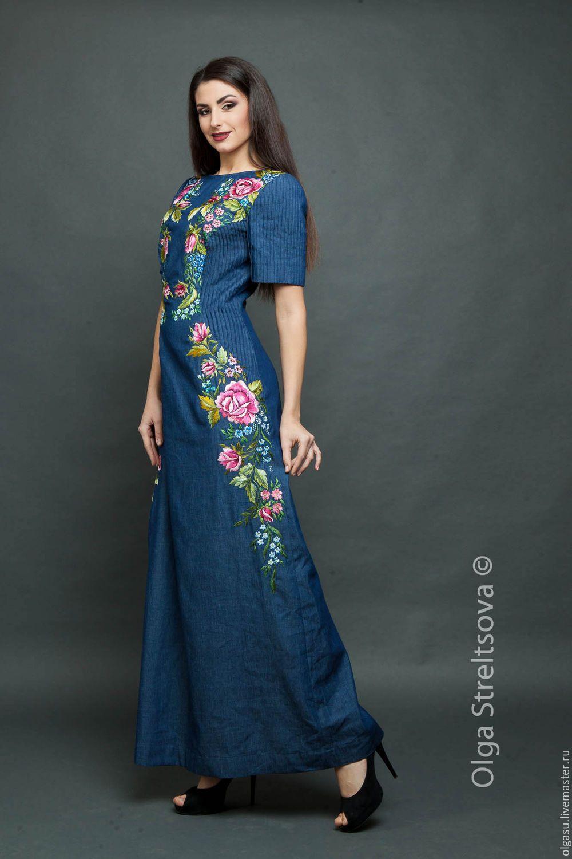 d6964039cb6 Платья ручной работы. Заказать Голубое джинсовое платье с вышивкой гладью
