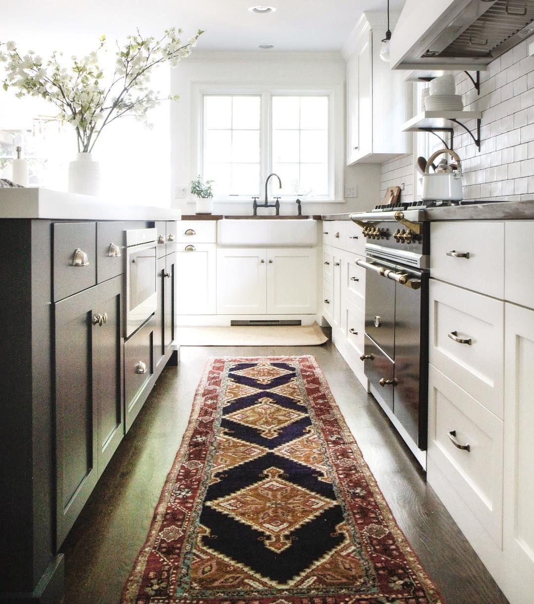 Ikea Kitchen Galley: Kitchen With Antique Rug, Black