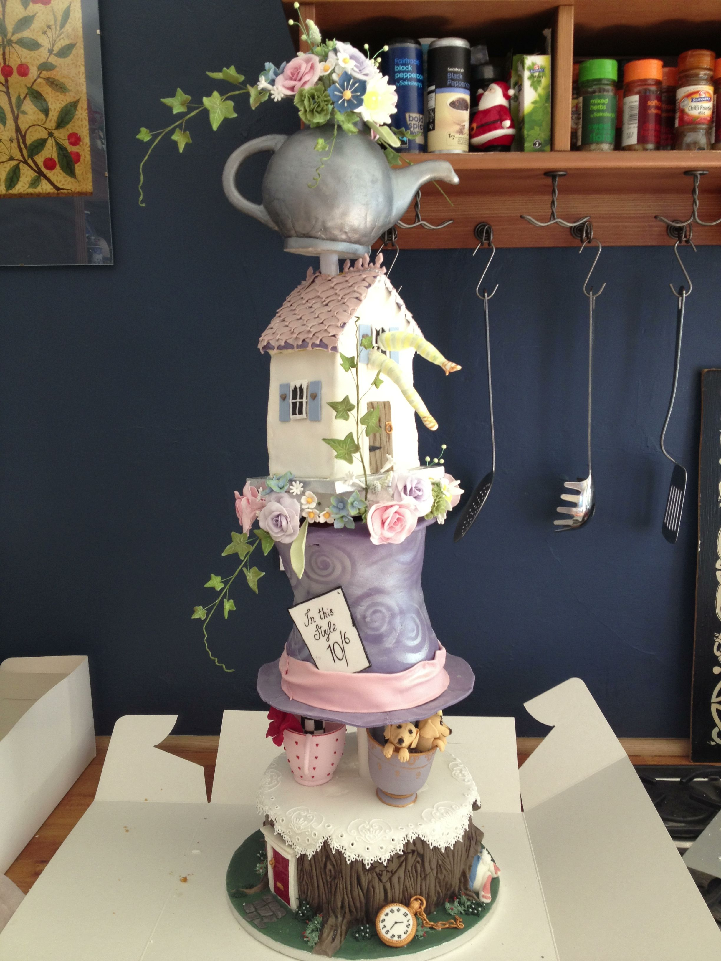 mad hatter wedding cakes designs in mad hatter lilac top hat sugar flowers 16978