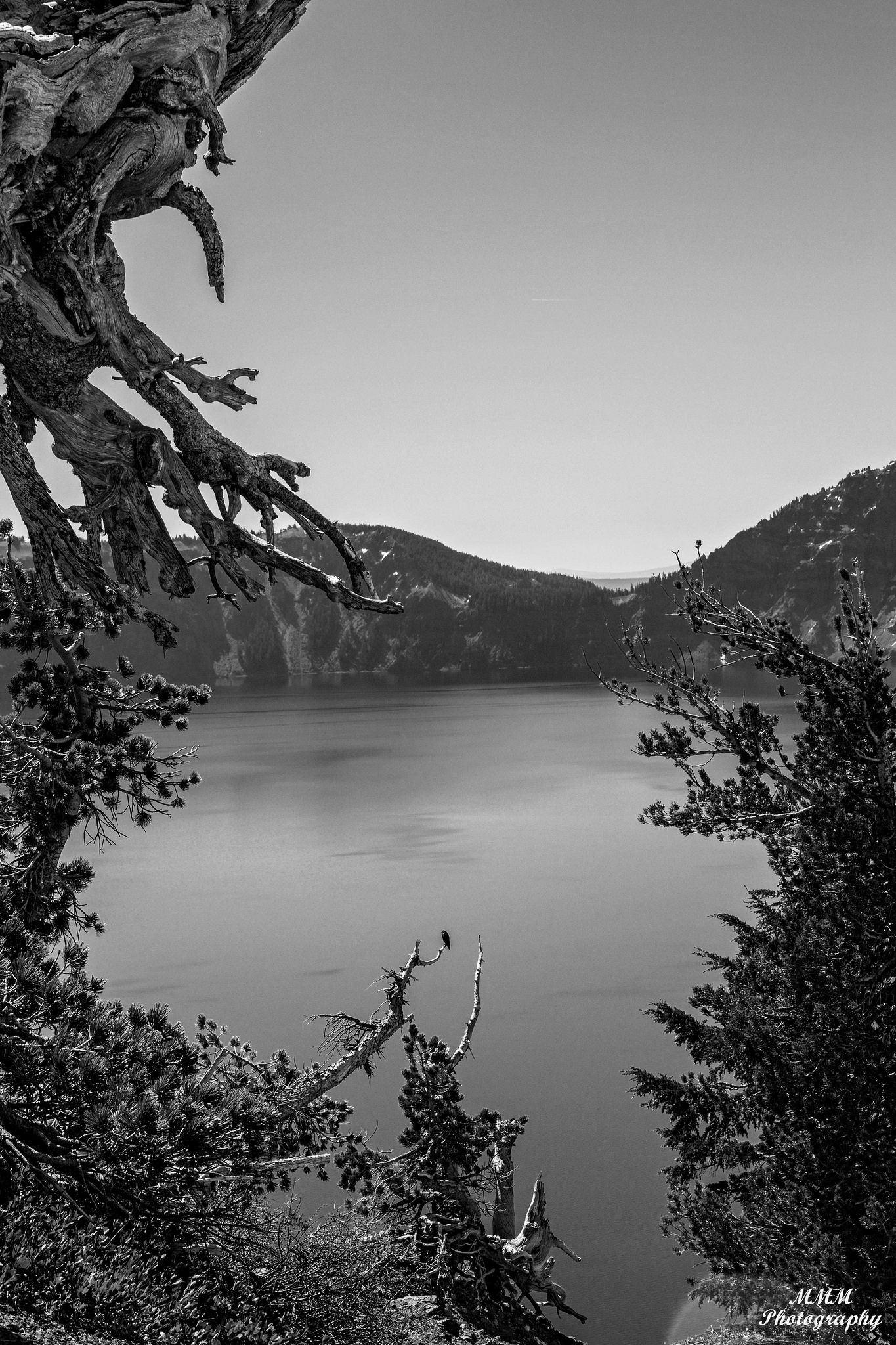 A black & white Crater Lake | Paintings/ Photography