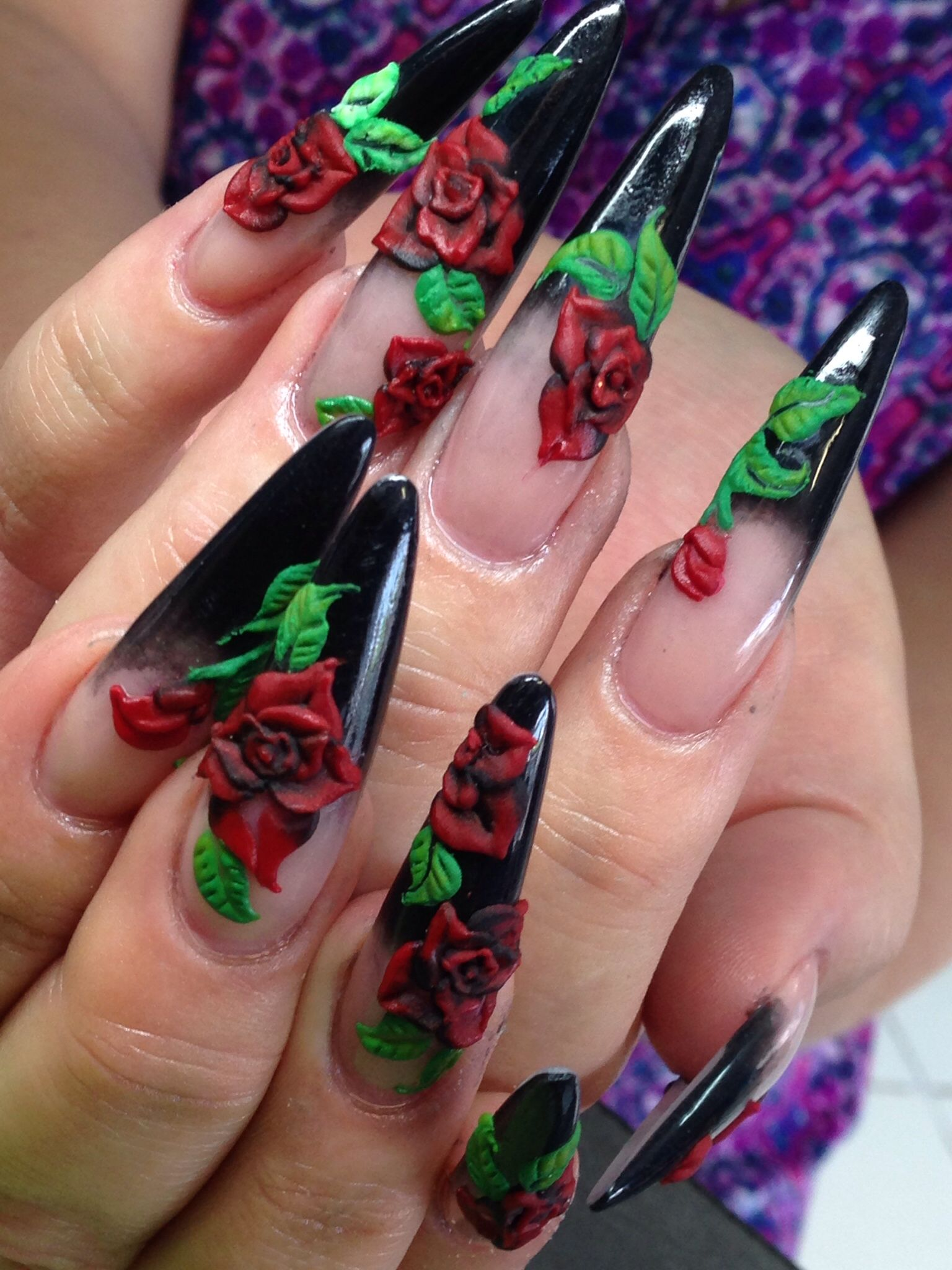 Black Stilettoes With 3D Red Rose Nail Art