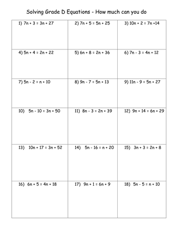 Solving Equations Worksheets Double Sided Equations Math