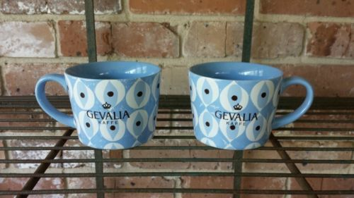 Gevalia Kaffe Retro Blue and White Design Ceramic 10 oz. Mugs ~ Set of 2