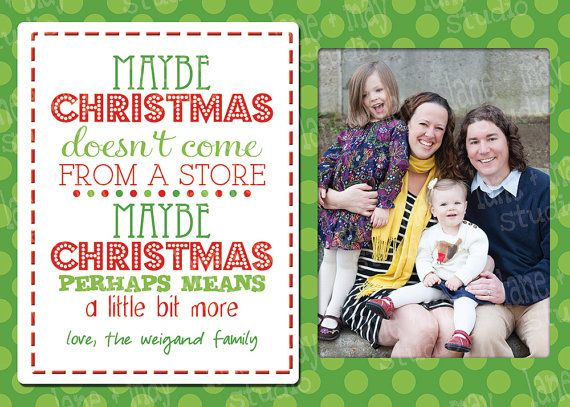 Grinch Quote Christmas Card With Photo Digital Print At Home On Etsy 15 00 Grinch Quotes Christmas Cards Card Sayings