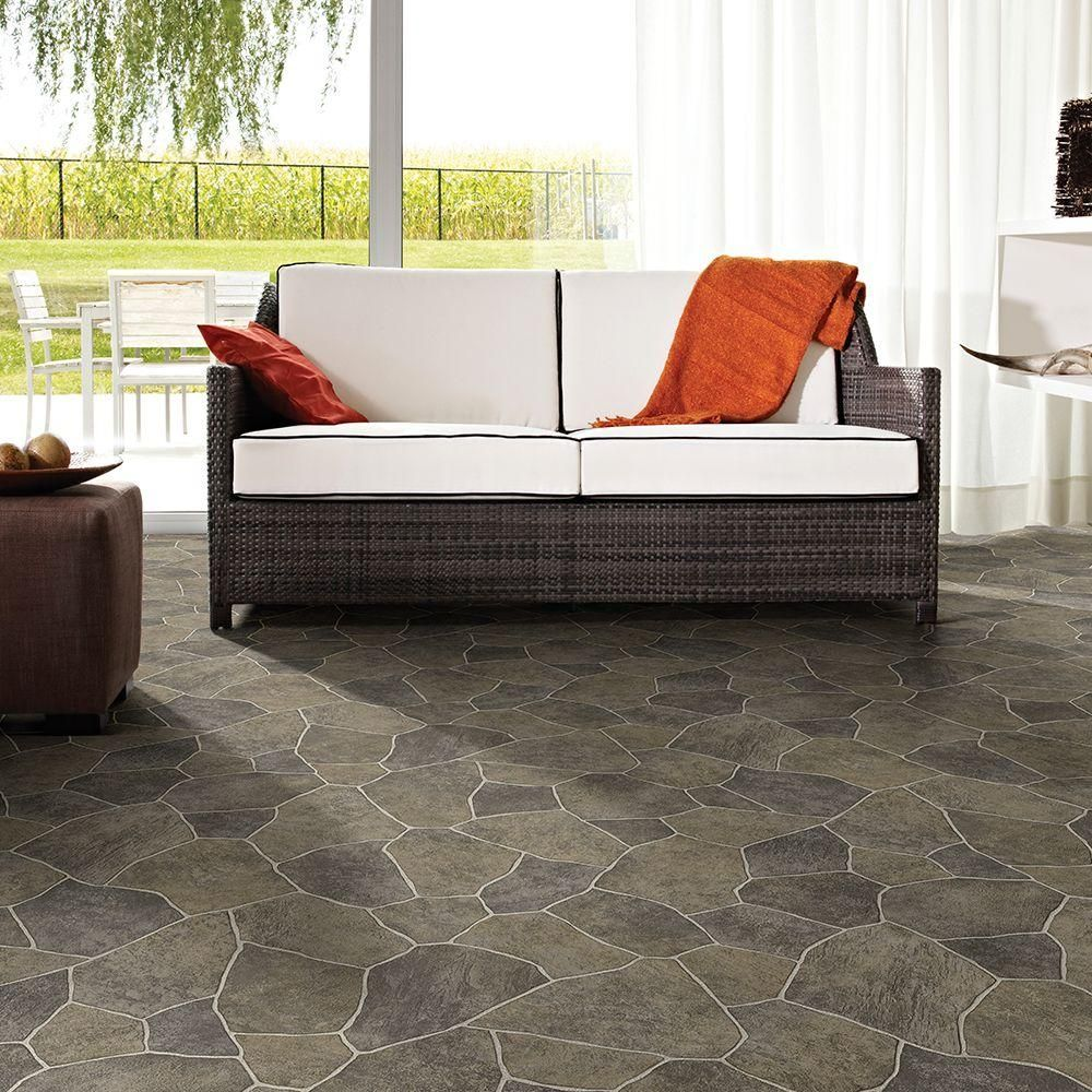 TrafficMASTER Natural Paver Vinyl Sheet, Sold by 12 ft