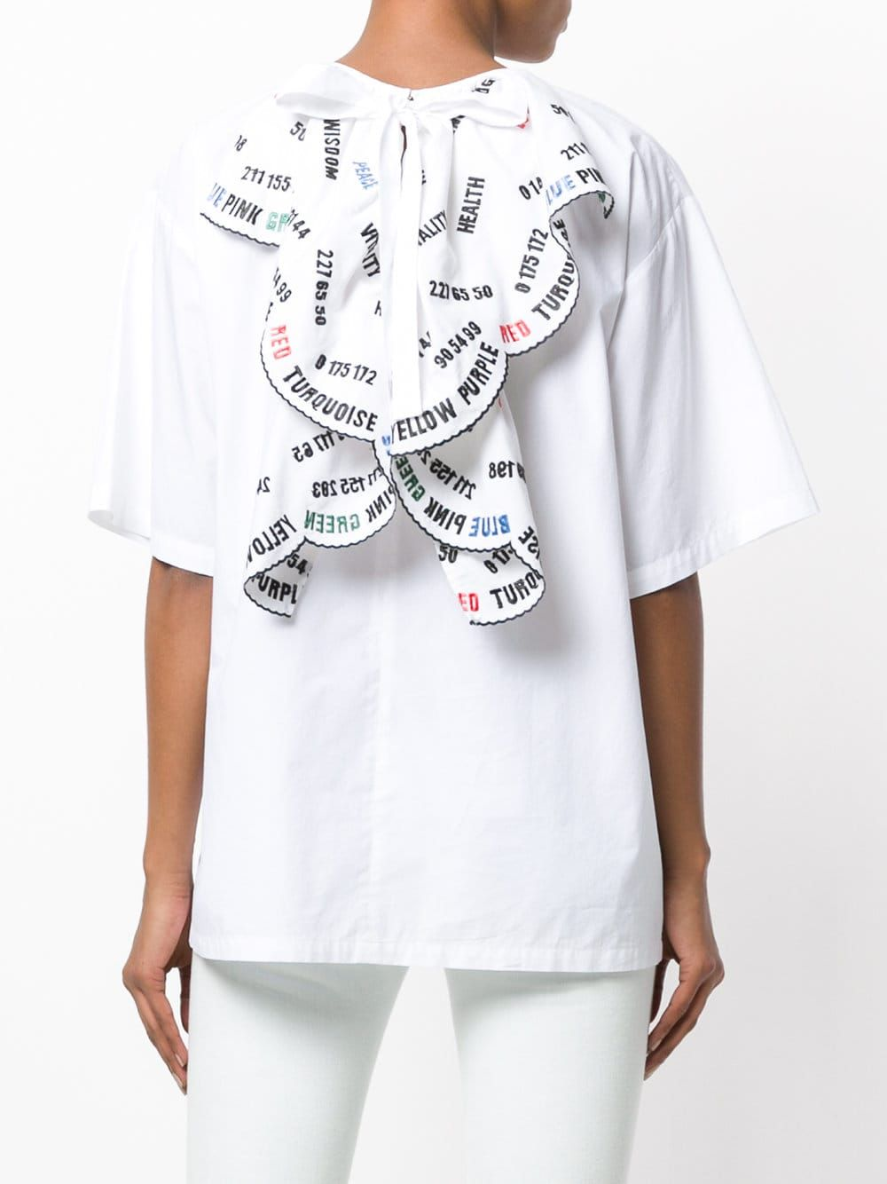 936c1407a MSGM Embroidered Slogan Back Ruffle T-shirt in 2019 | TOP | Shirts ...