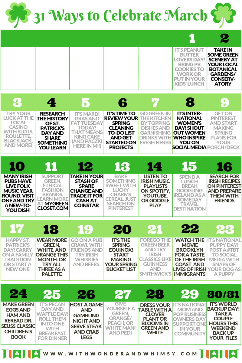 31 Ways to Celebrate March: a March bucket list of fun things to do around St. Patrick's Day. Metro Detroit, Michigan lifestyle blog With Wonder and Whimsy.