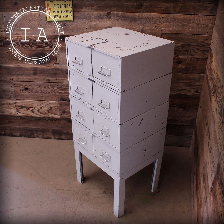 Vintage 8 Drawer Modular Cole Steel SteelMaster File Cabinet by