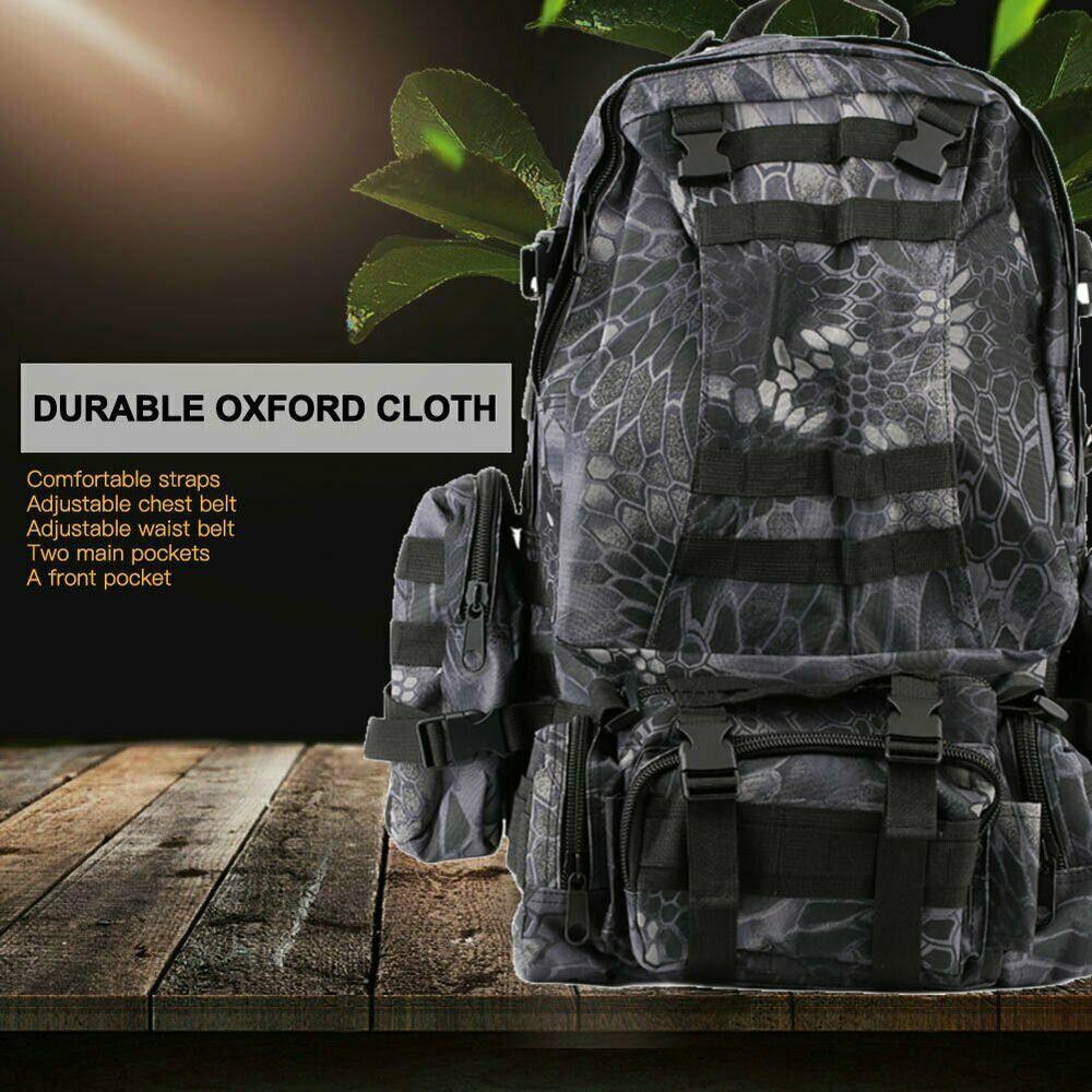 55L Military Tactical Backpack Hiking Camping Travel Outdoor Shoulder Bag Pack