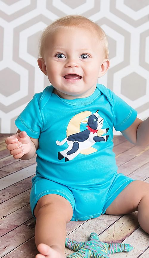 "Gnu Brand captures the charm of the ""Cow Jumps Over the Moon"" nursery rhyme with a textile applique. www.gnubrand.com"