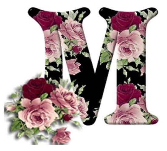 Buchstabe Letter M Rosen Roses Fancy Letters Monogram Letters Alphabet