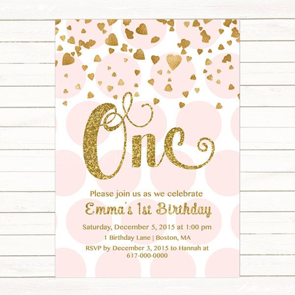 Pink and gold 1st birthday invitation girl any age pink gold pink and gold 1st birthday invitation girl any age pink gold heart confetti girl first stopboris Image collections