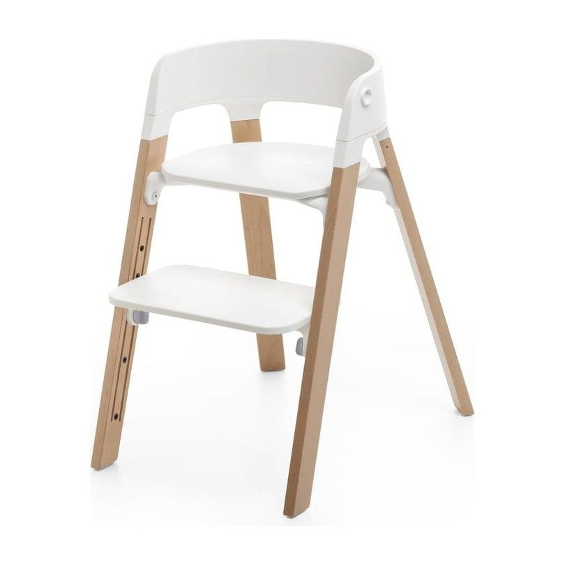 Stokke Steps Chair Natural Legs With White Seat Gear Highchairs Feeding Maisonette In 2020 Stokke Steps Stokke High Chair