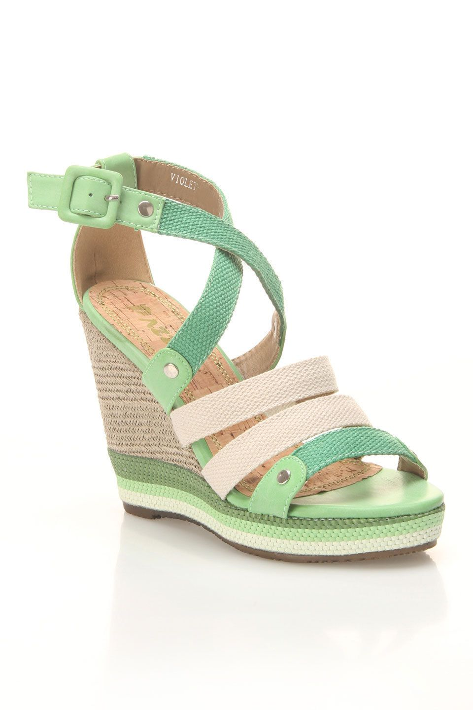 Violet Wedge Sandals In Green  $29.99