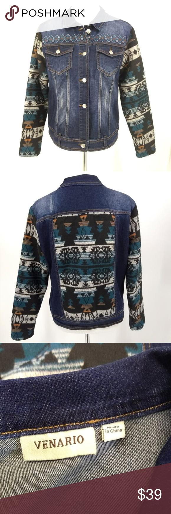 Venario Medium Jean Jacket Native American Fleece Venario Medium Jean Jacket Native American Fleece Sleeves Button Down Clothes Design Fashion Fashion Design [ 1740 x 580 Pixel ]