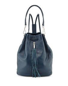 Elizabeth and James Cynnie Leather Tassel Sling Bag, Blue  //  $585