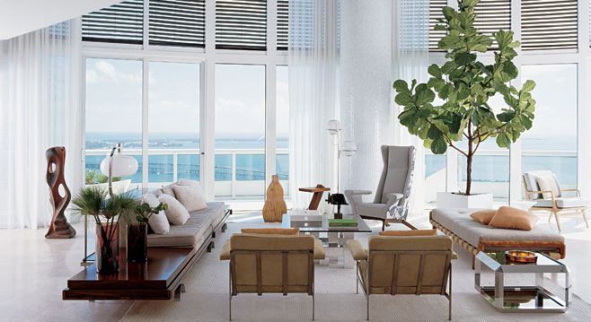 Without the fiddle leaf fig plant the living room would be very neutral. the plant also adds extra height and warmth