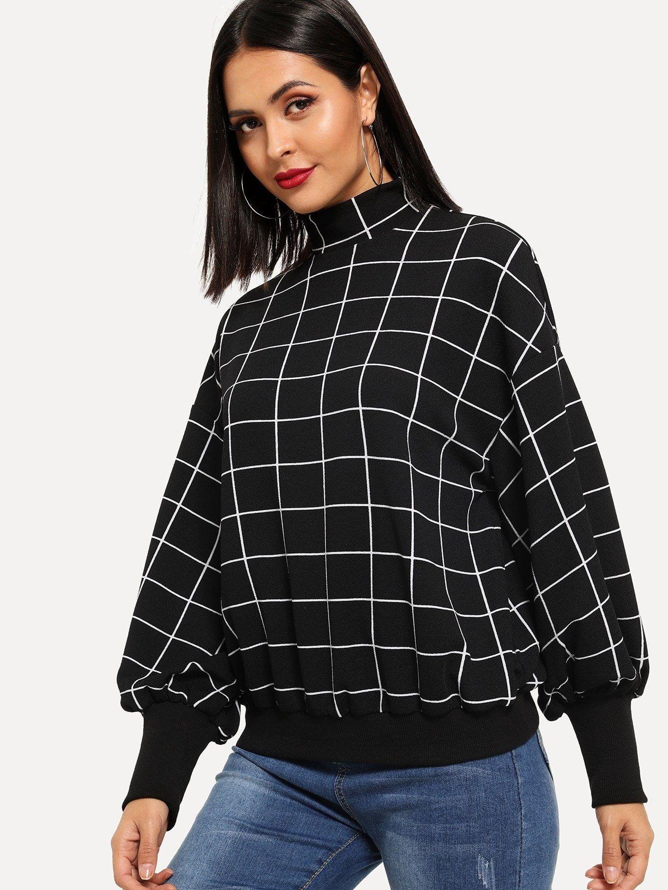 Mock Neck Grid Pullover Romwe Sweatshirts Women Insta