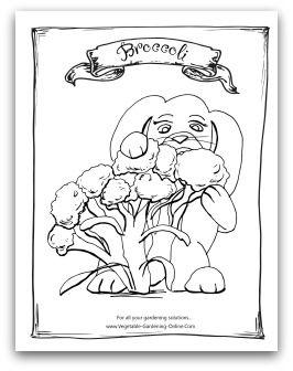 Free printable garden broccoli coloring activity page for