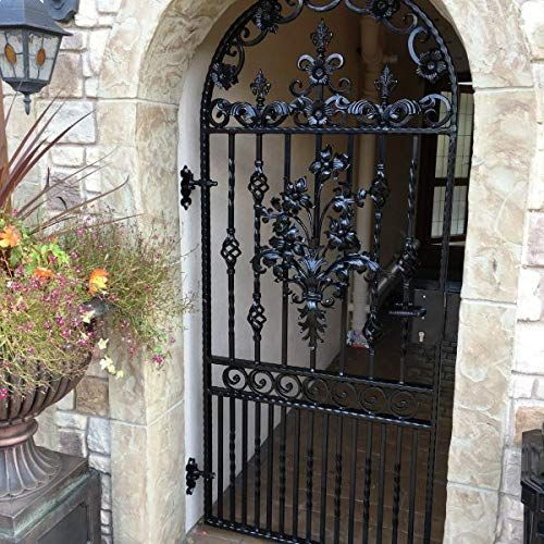 Wrought Iron Gate Arched Flower and Leaf Design Pontyprid ...