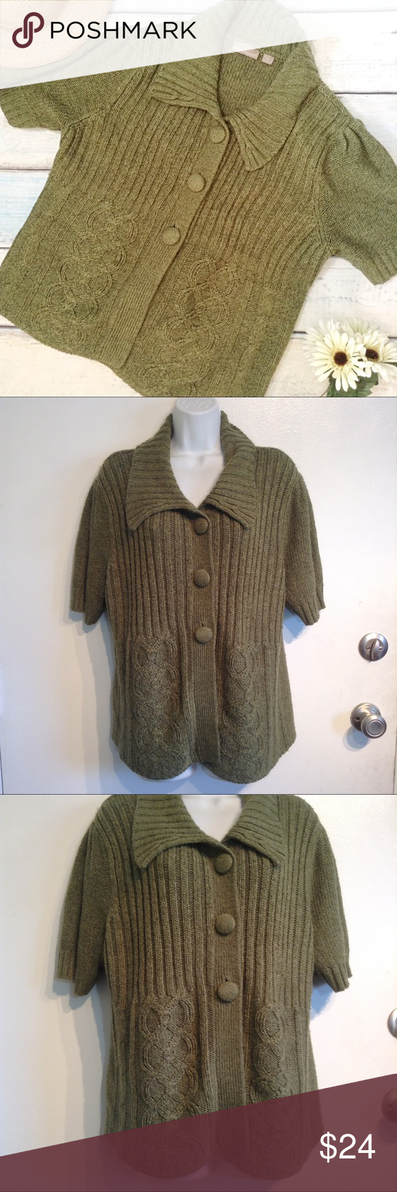 Olive Green Knit Short Sleeve Cardigan Sweater   Olive green ...