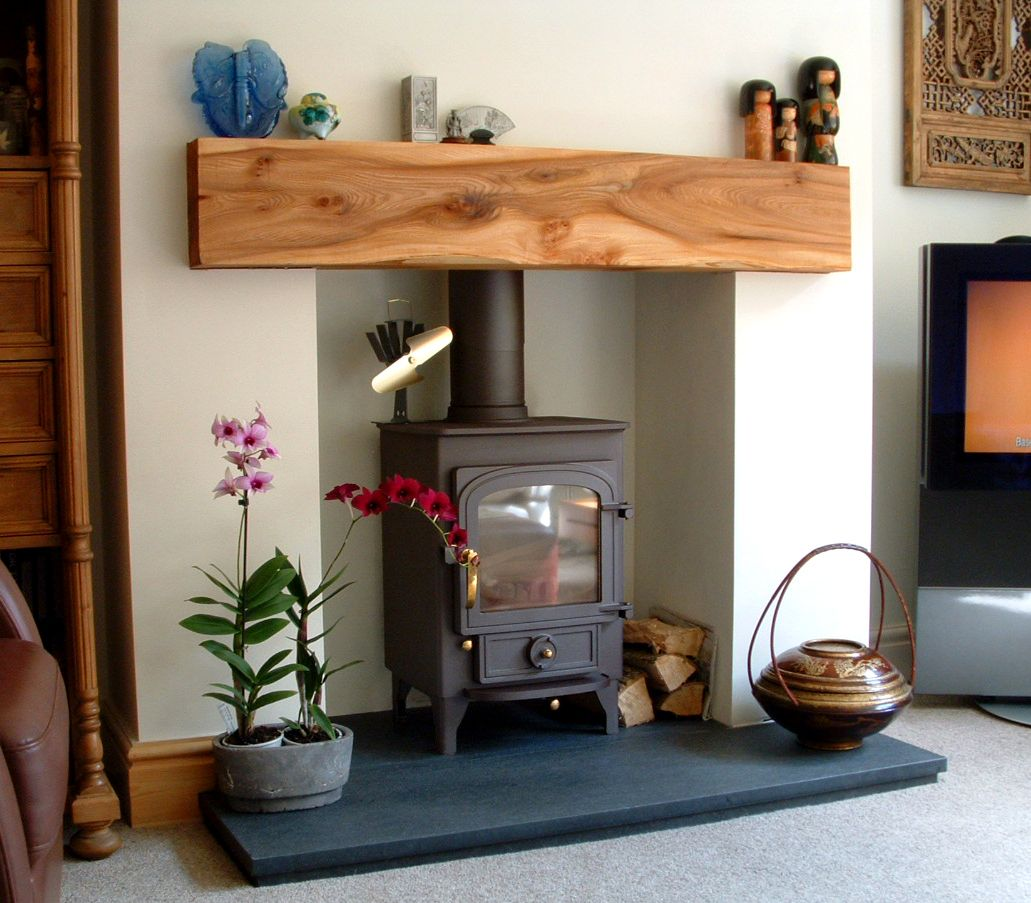 Wooden Mantel Elm Fireplace Logburning Stove Scotland Timber Log Burner Living Room Living Room Mantel Wooden Mantel