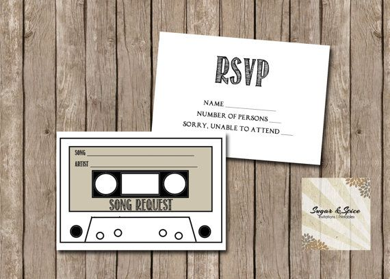 Rsvp Card Cassette Tape Song Request Wedding Diy Printable Digital File Song Request Songs Rsvp