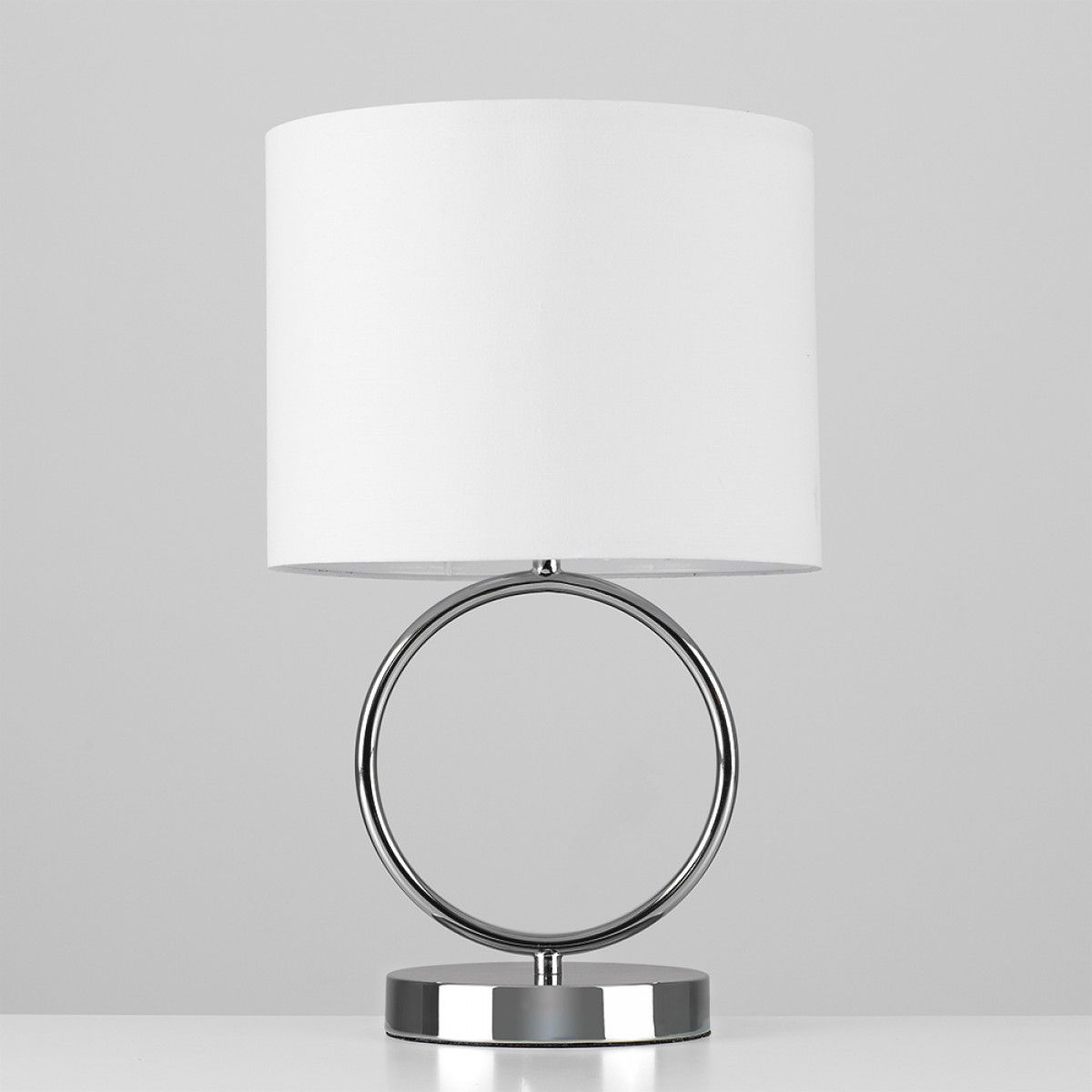 Lavoisier Black Chrome Hoop Touch Table Lamp With White Drum