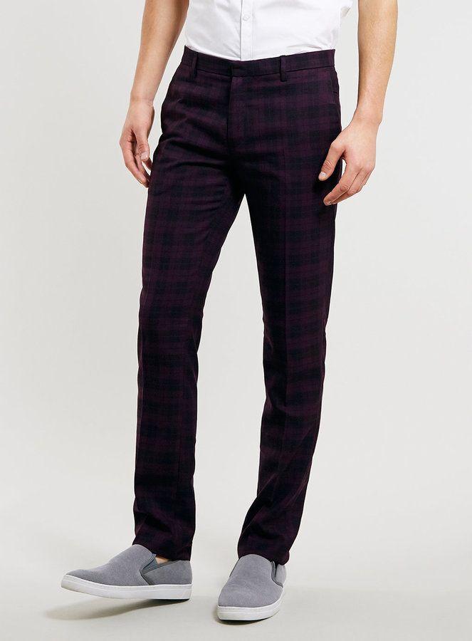 c8e68c2ffada Topman Burgundy Check Skinny Trousers on shopstyle.co.uk