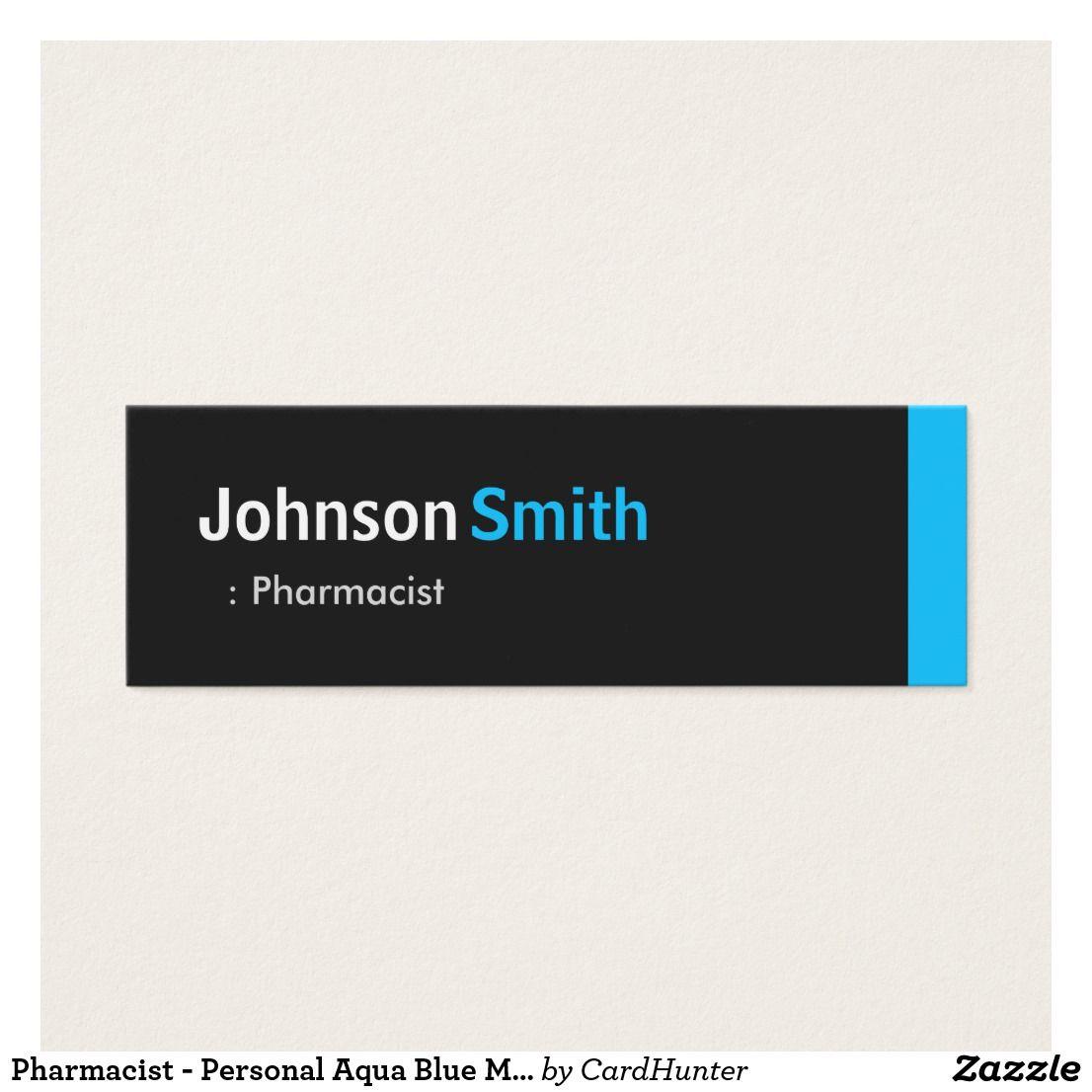 Pharmacist - Personal Aqua Blue Mini Mini Business Card | job ...