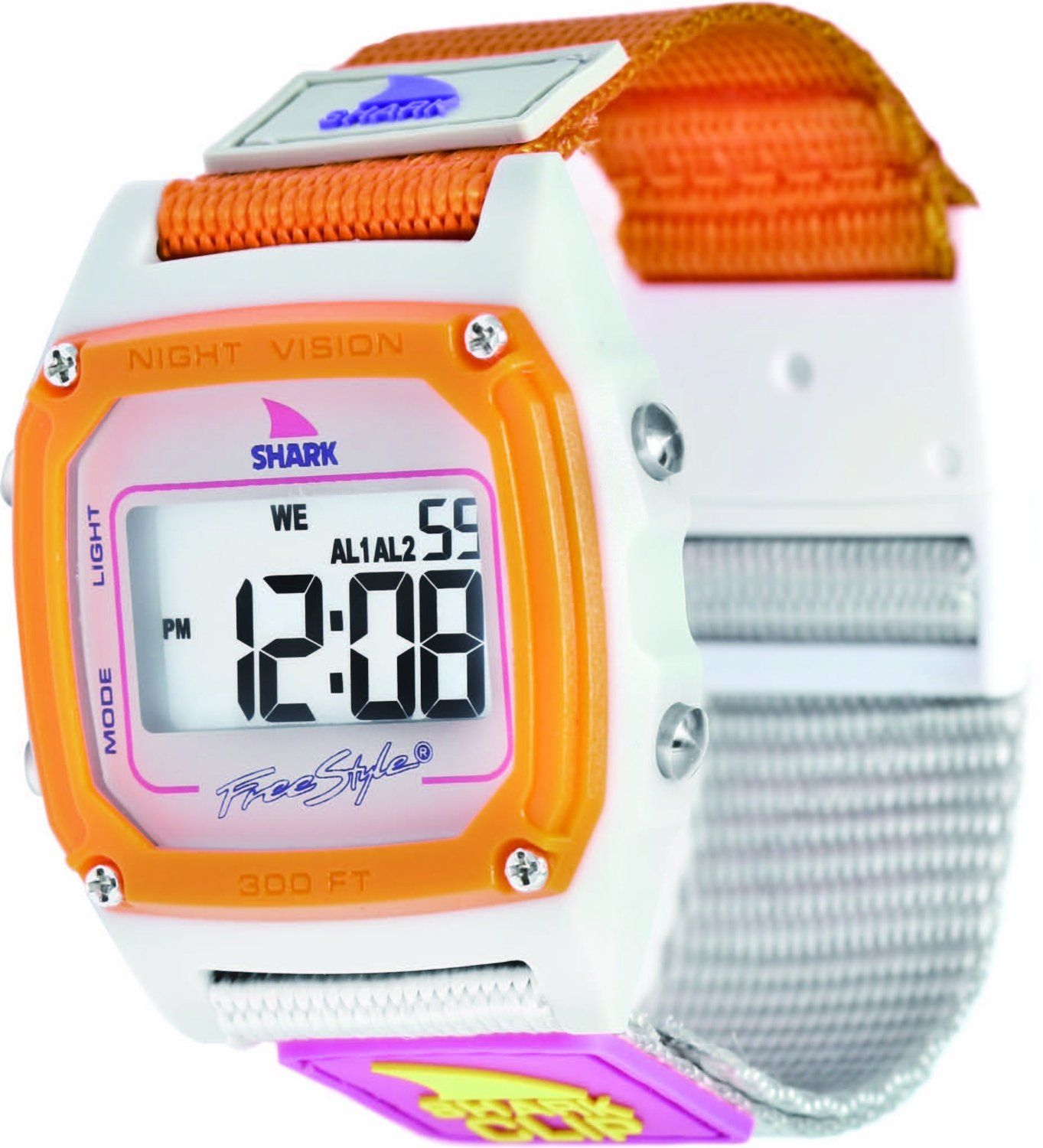 Freestyle Womens FS84860 Shark Clip Digital Taupe Neon Nylon Watch, (watches, sport watch)