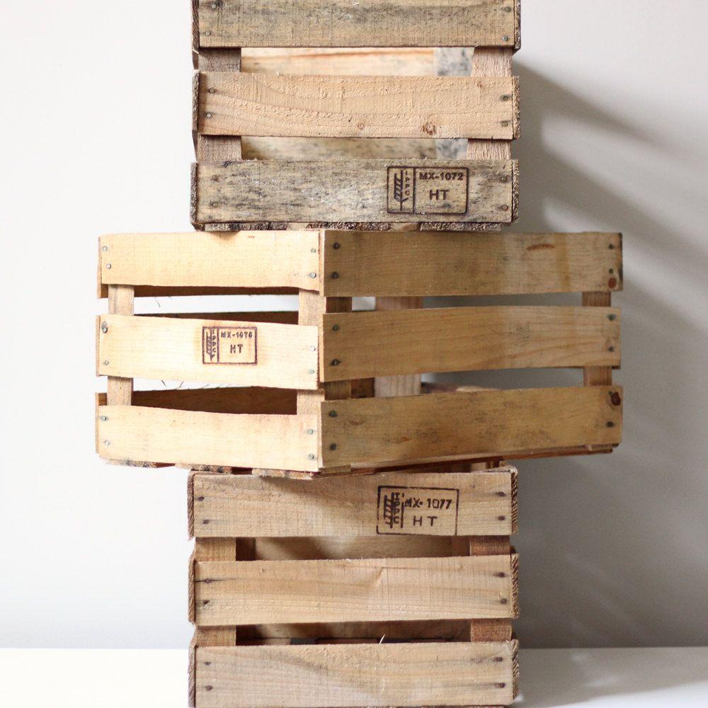 Rustic Wooden Harvest Crate Slat Box Industrial Decor 3200