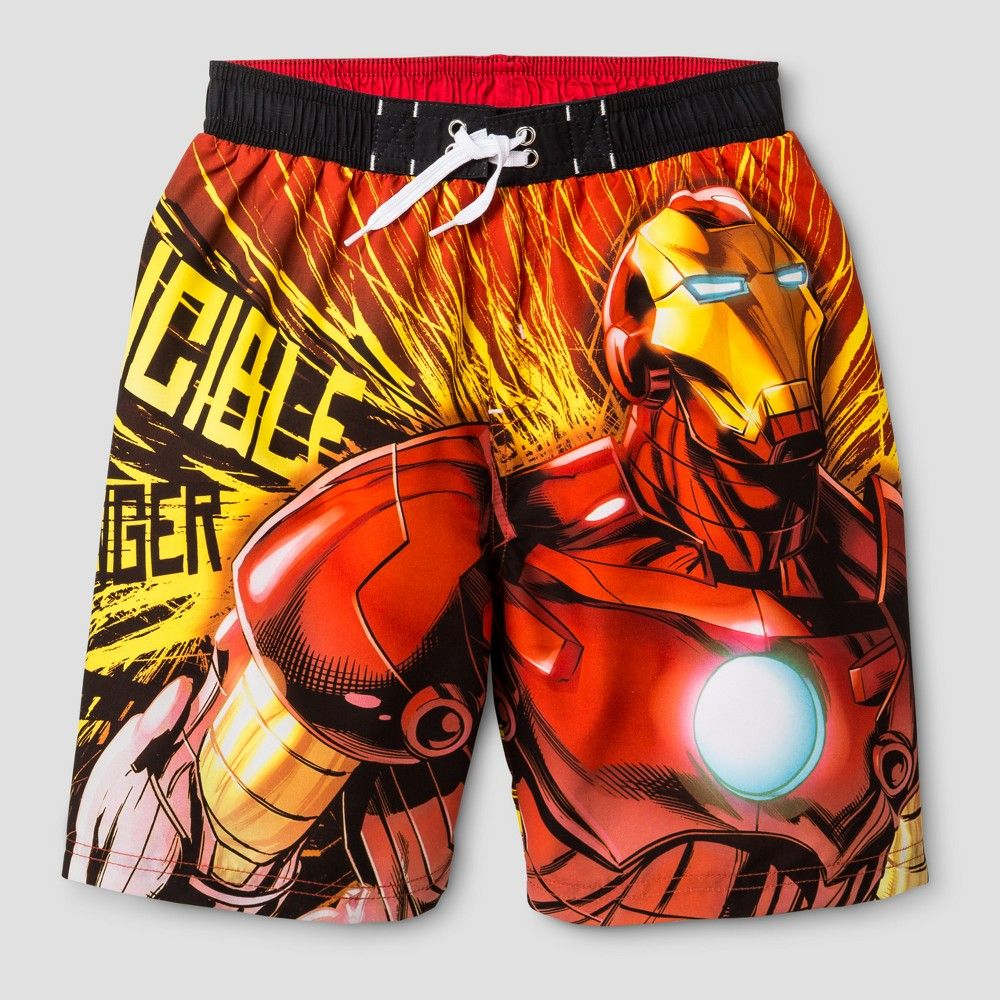 5907b27d0b Boys' Iron Man Swim Trunk Black/Red XS, Men's, Multicolored ...