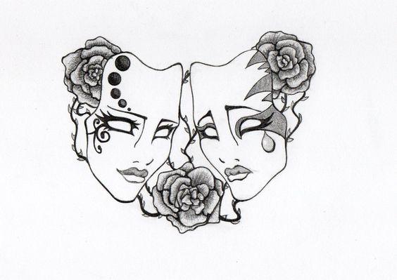 greek theatre masks tattoo pesquisa google tattoo designs pinte rh pinterest com theatre mask tattoos japanese theater mask tattoo